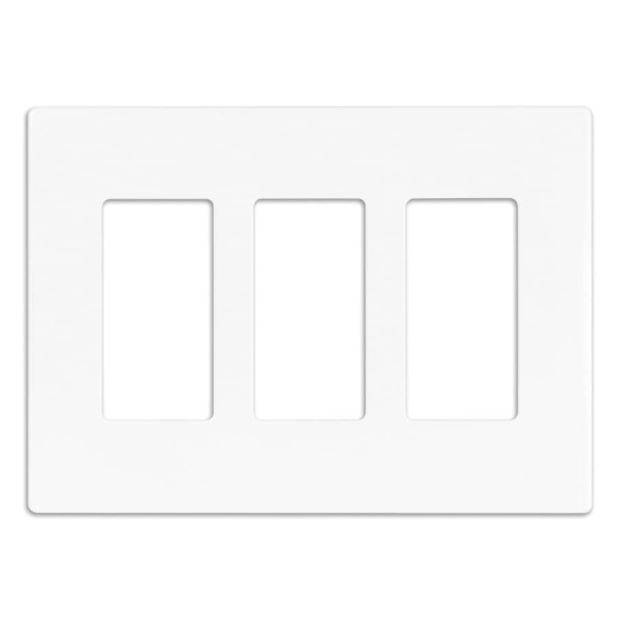 EATON:Screwless Decorator Wall Plate - White + 3-Gang