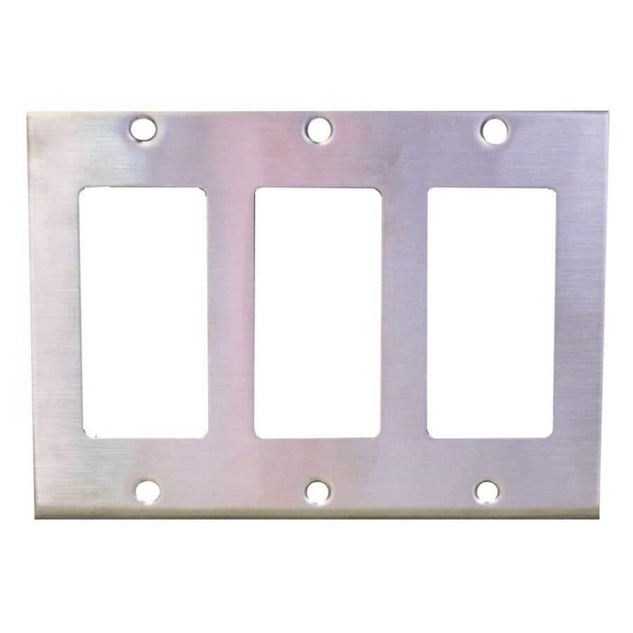 EATON:Stainless Steel 3 Device Switch Plate