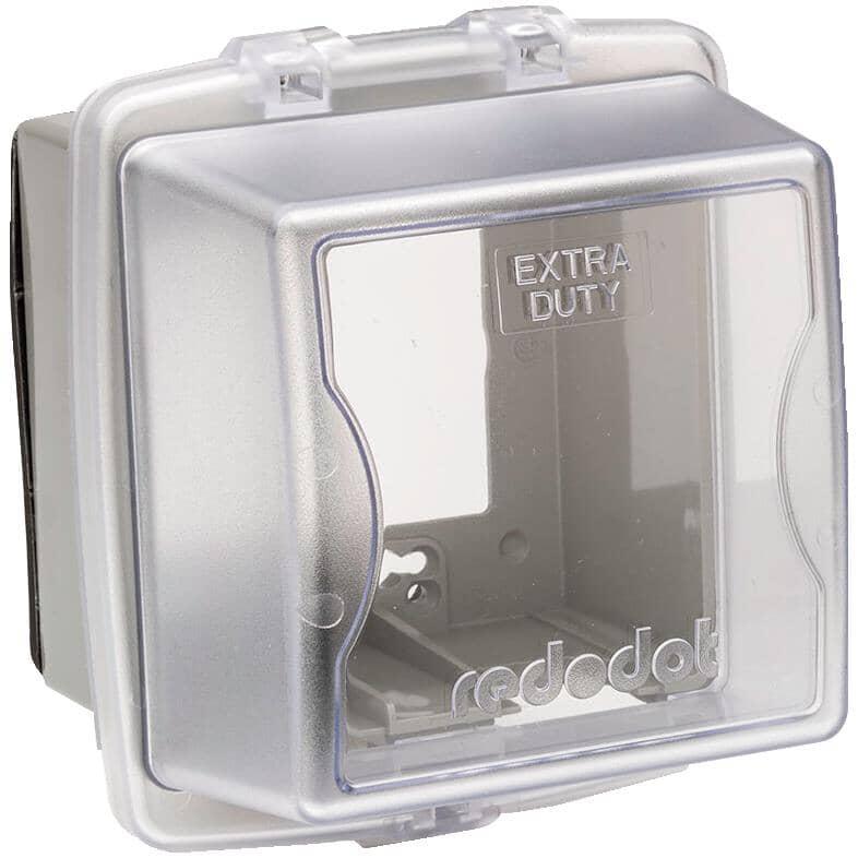 RED DOT:Couvercle étanche large Extra Duty en service pour 2 boîtes de sortie, transparent