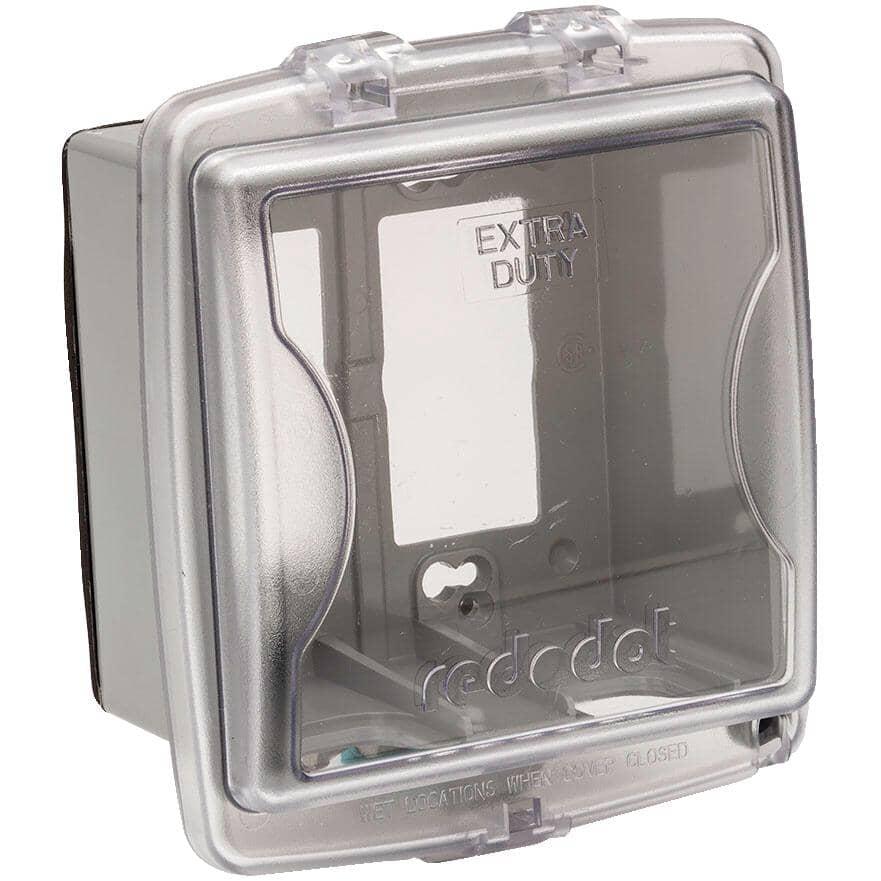 RED DOT:Couvercle étanche moyen Extra Duty en service pour 2 boîtes de sortie, transparent