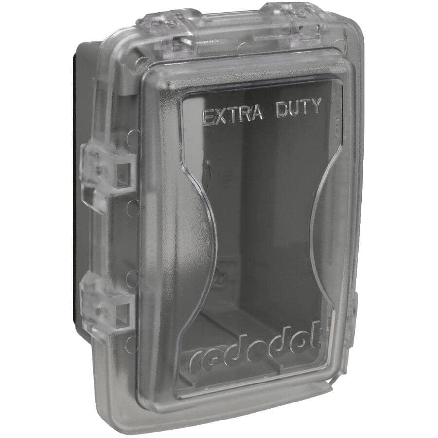 RED DOT:Couvercle étanche peu profond Extra Duty en service pour 1 boîte de sortie, transparent