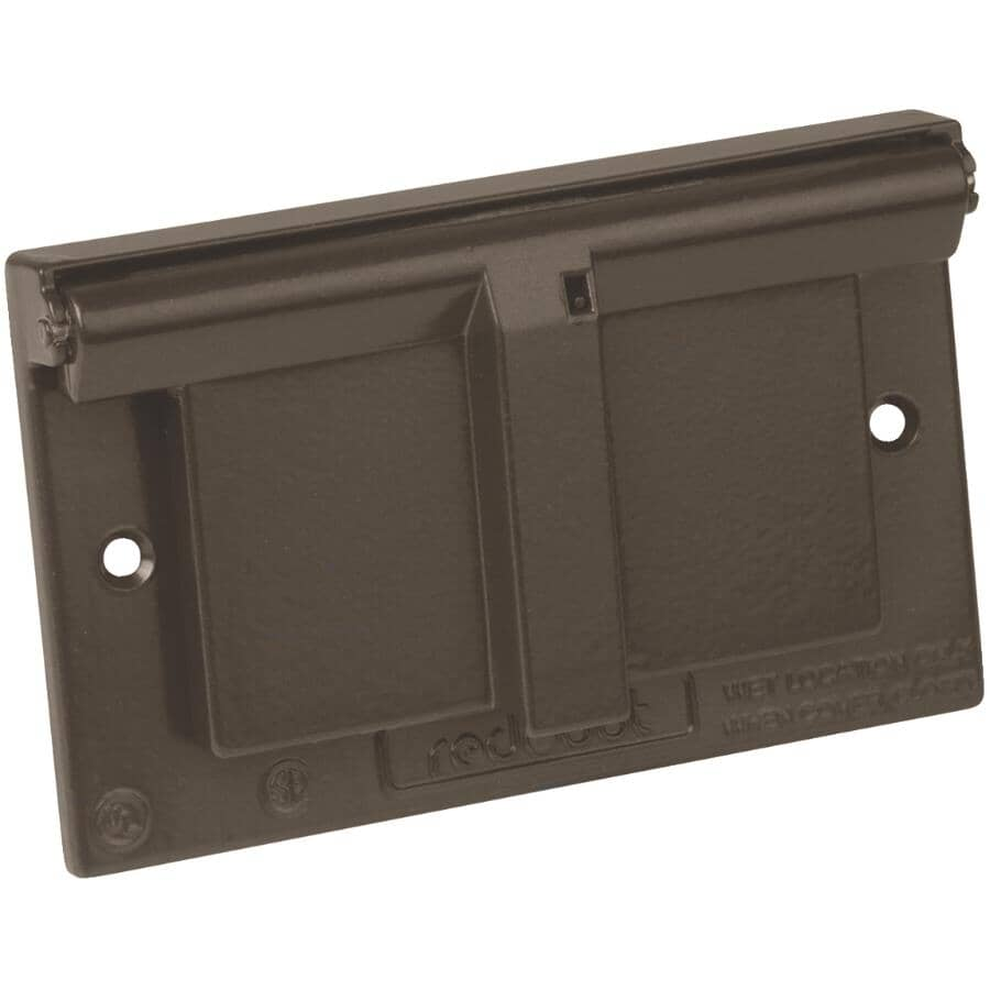 RED DOT:1 Gang Weatherproof GFCI Bronze Receptacle Cover