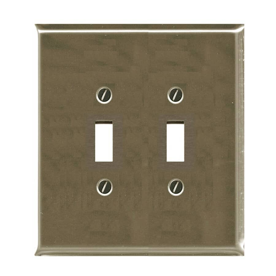ATRON:Plaque pour deux interrupteurs à bascule, nickel brossé