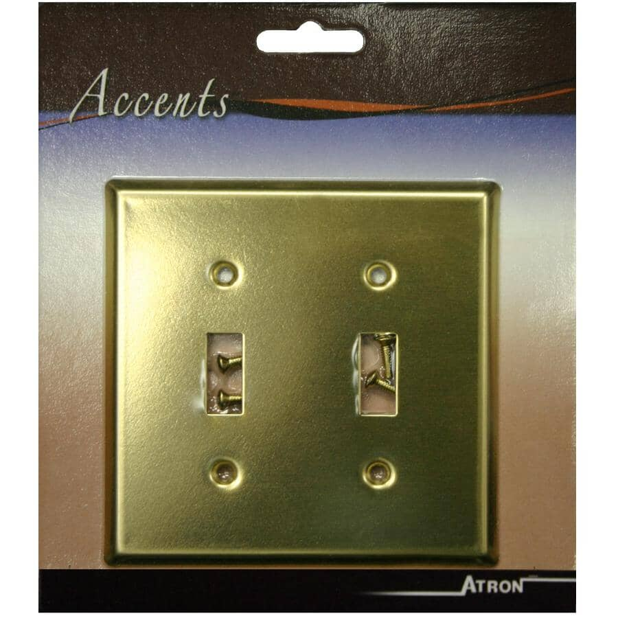ATRON:Polished Brass 2 Toggle Switch Plate