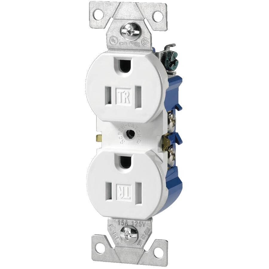 EATON:15 Amp White Tamper Resistant Duplex Receptacle