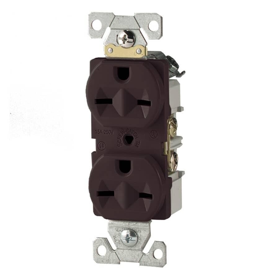 EATON:250 Volt 15 Amp Brown Duplex Receptacle
