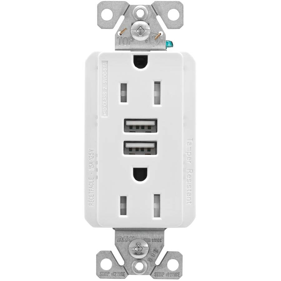 EATON:White 5 Amp Dual Port USB Charger with 15 Amp Tamper Resistant Decorator Receptacle