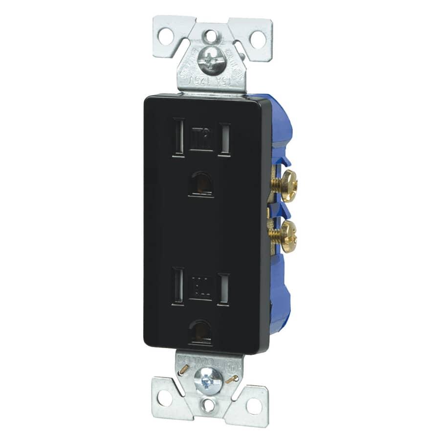 EATON:20 Amp Black Tamper Resistant Decorator Receptacle