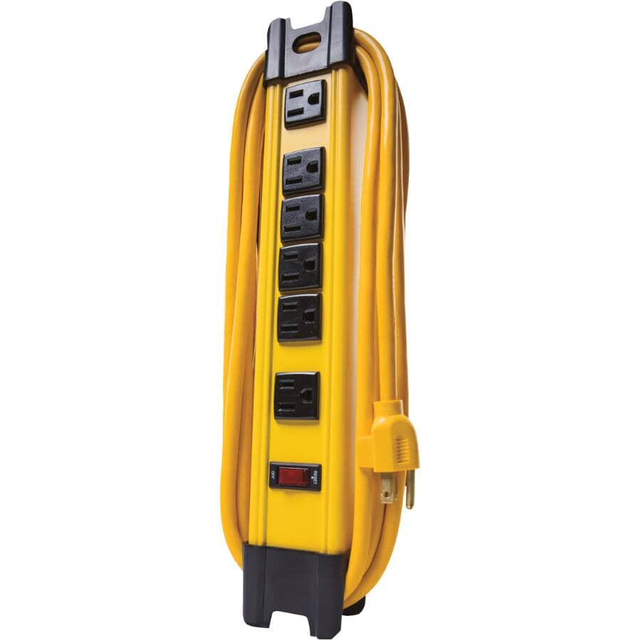 WOODS:6 Outlet Metal Power Strip - with 10' Cord, Yellow