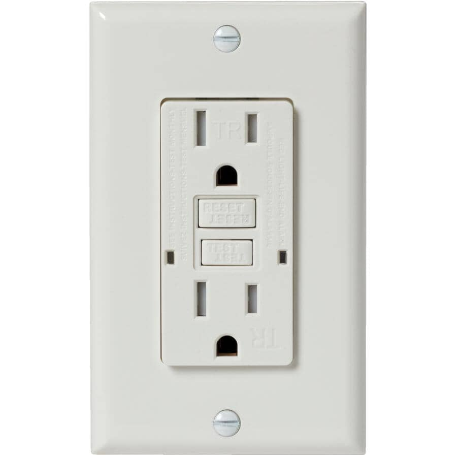 ELECTRICAL DEVICES:15 Amp White Tamper Resistant GFI Receptacle with Plate