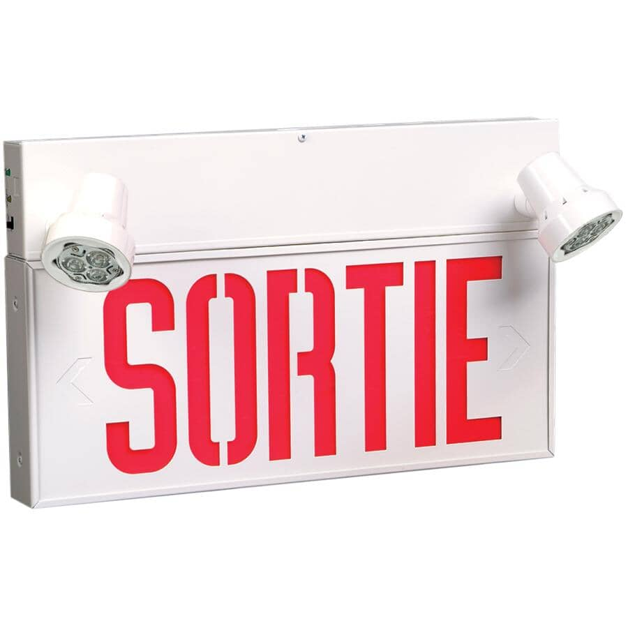 EMERGI-LITE:2 Light LED Security Light - with French Exit Sign
