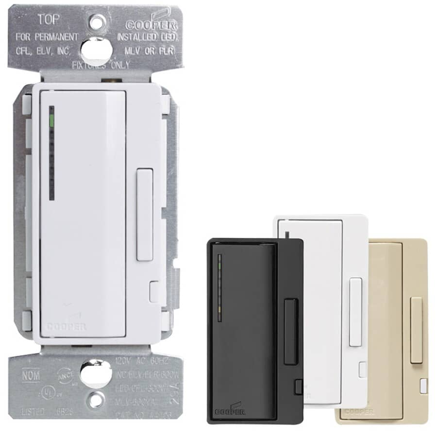EATON:Dimmer Switch for All Bulbs - with Preset + Interchangeable Face Plates
