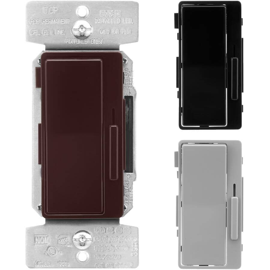 EATON:Single Pole & 3 Way Decorator Universal Slide Dimmer Switch - with Preset + Black, Grey & Brown Face Plates