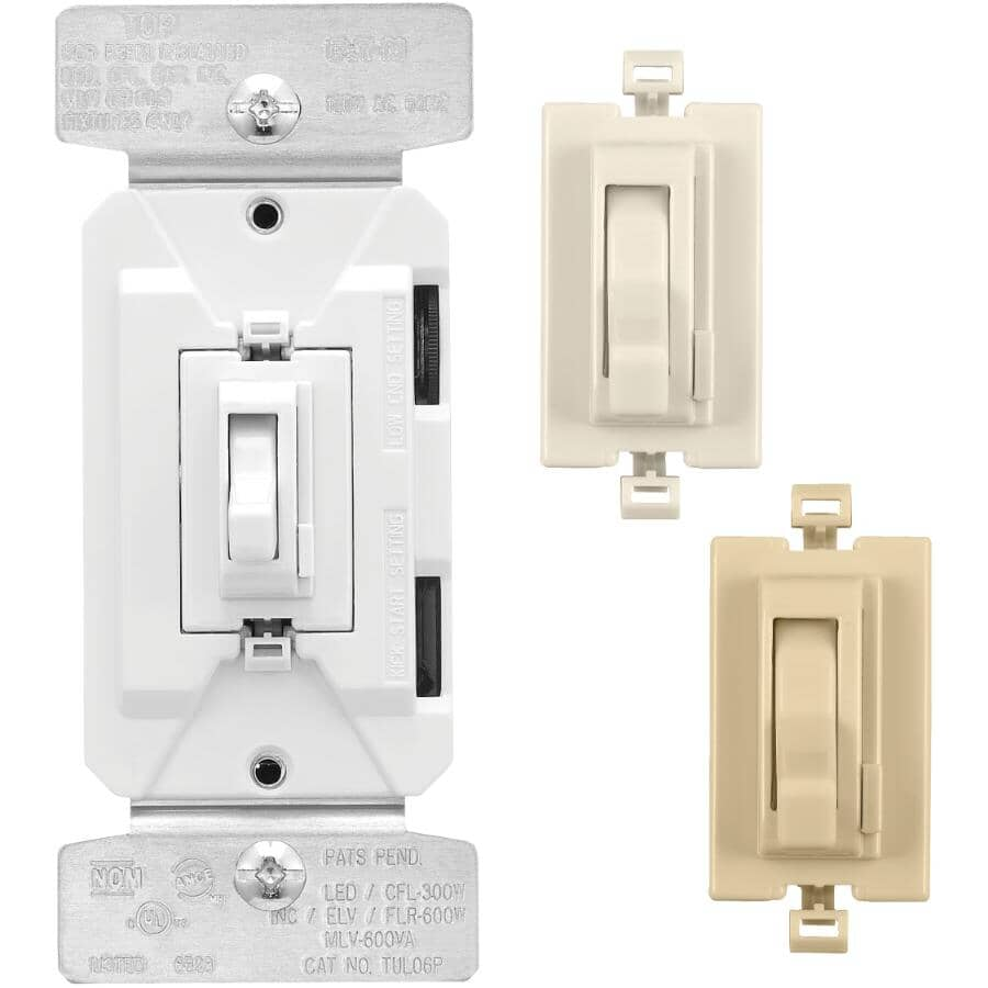 EATON:Universal Toggle Dimmer Switch - with Preset + White, Ivory & Light Almond Face Plates