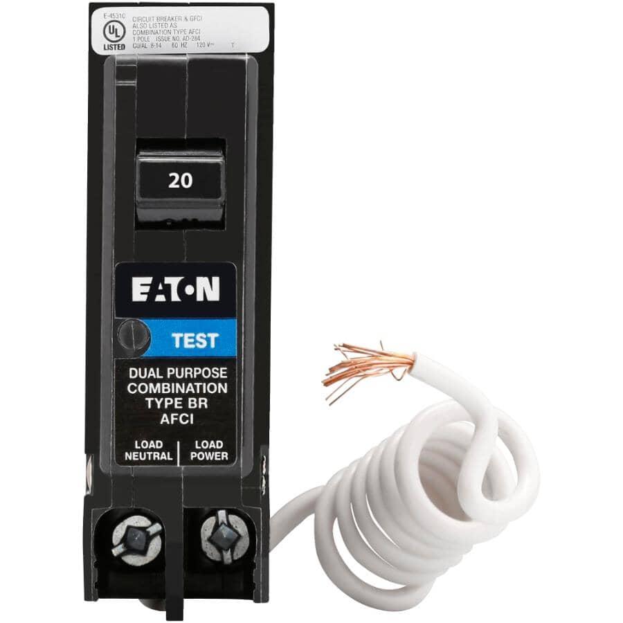 EATON:Single Pole 20 Amp Combination Arc Fault Pigtail Circuit Breaker