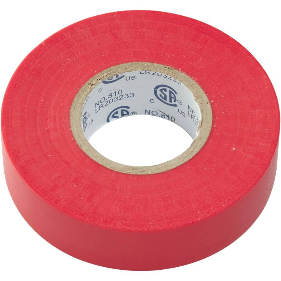 """HOME ELECTRIC:7mil x 3/4"""" x 60' PVC Red Electrical Tape"""