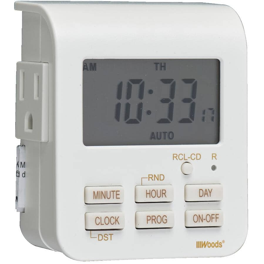WOODS:2 Outlet Weekly Digital Timer, with 3 Conductors