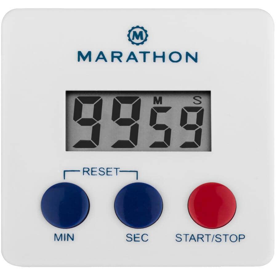 MARATHON:100 Minute Digital Clip-On Timer - White