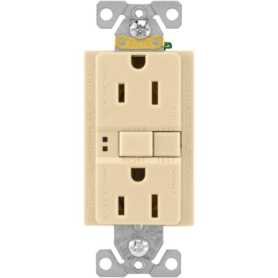 EATON:15 Amp Ivory Self Test GFI Receptacle with Plate