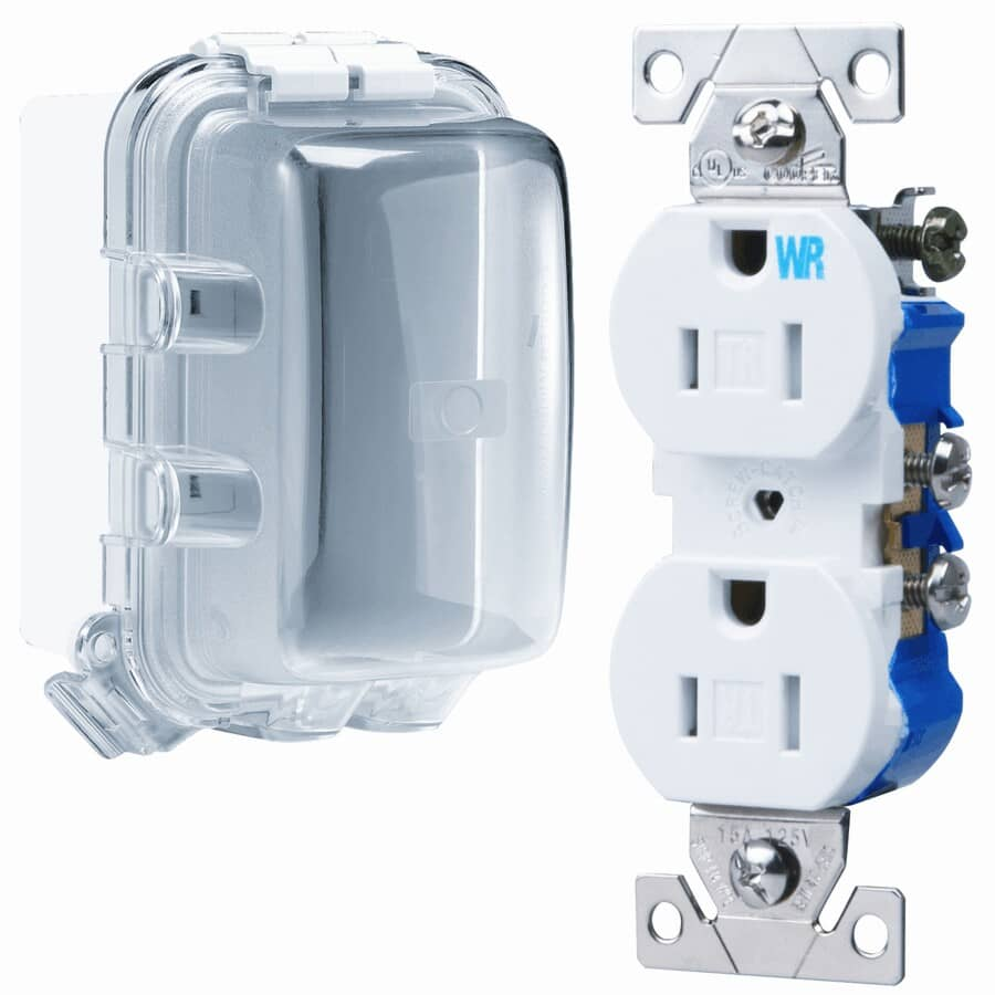 EATON:While-In-Use White Weatherproof Tamper Resistant Duplex Universal Mount Receptacle Kit