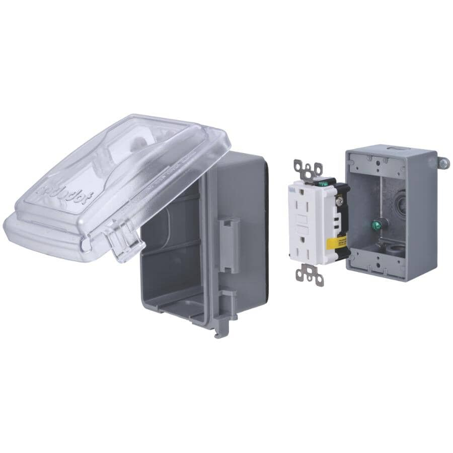 RED DOT:Weatherproof GFCI Receptacle Kit with Clear PVC Cover