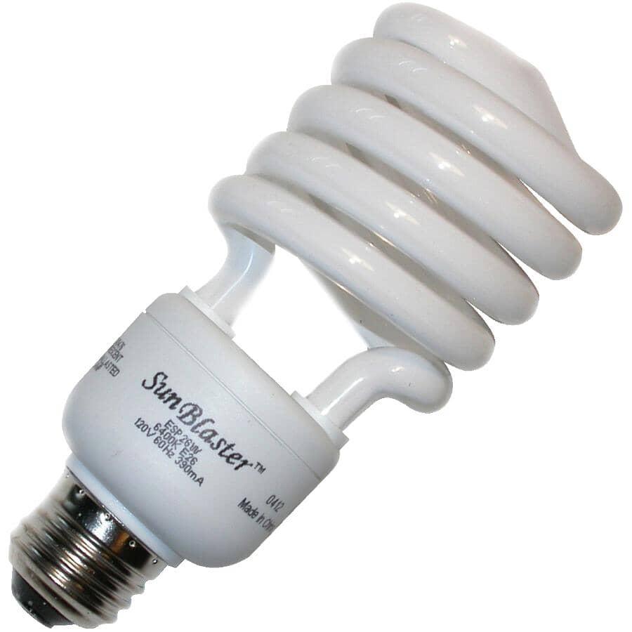 SUNBLASTER:Ampoule fluocompacte torsadée de 26 W et de 6 400 K à culot moyen pour croissance des plantes