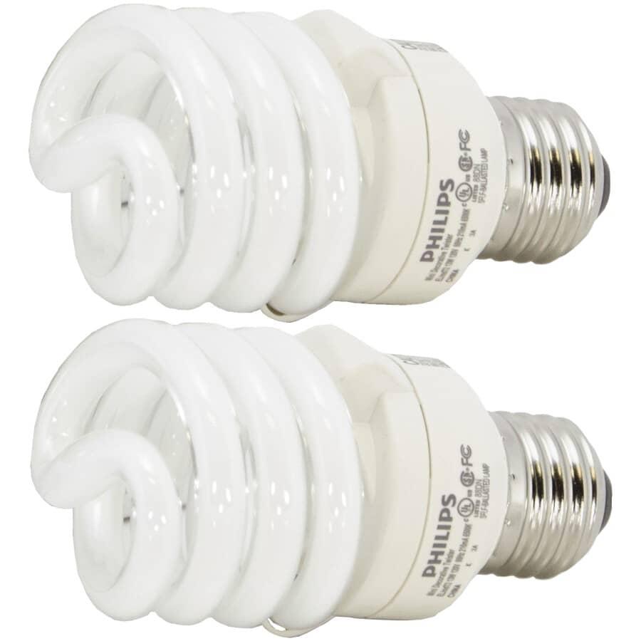PHILIPS:2 Pack 13W Mini Spiral Medium Base Daylight Compact Fluorescent Light Bulbs