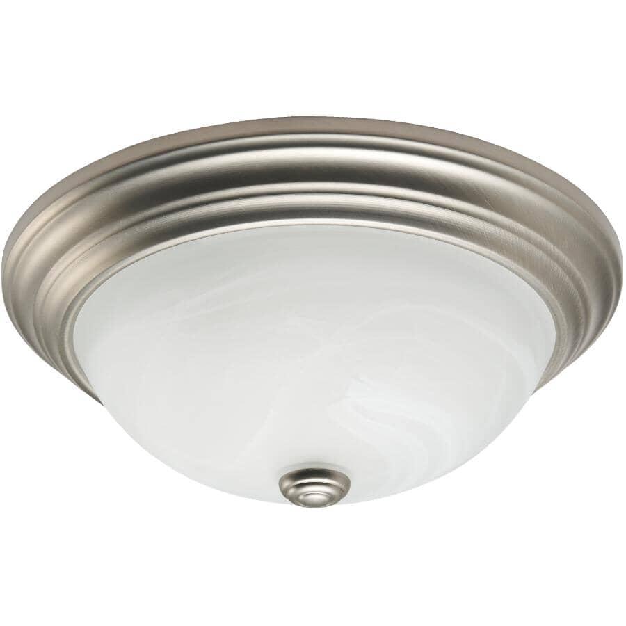 "GALAXY:13"" Pewter Marble Glass Flush Light Fixture"