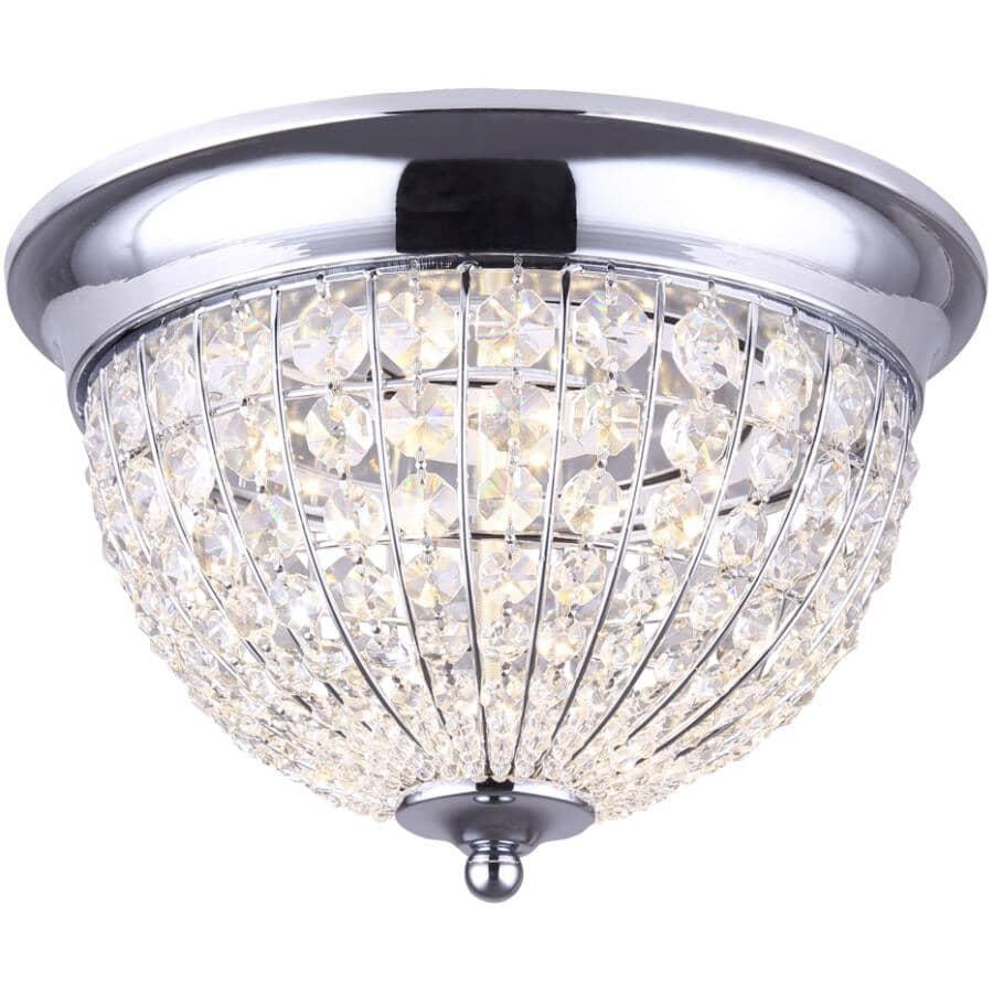 CANARM:Tilly 19W Chrome with Crystals Flush Mount LED Light Fixture