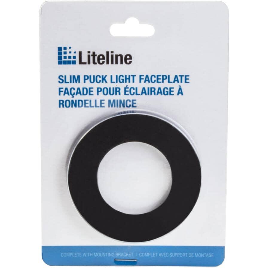 LITELINE:Black 1 Light Slim Puck Under Cabinet Faceplate