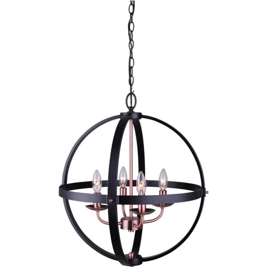 CANARM:Chandelier à 4 lampes de la collection Sutton, noir mat et bronze