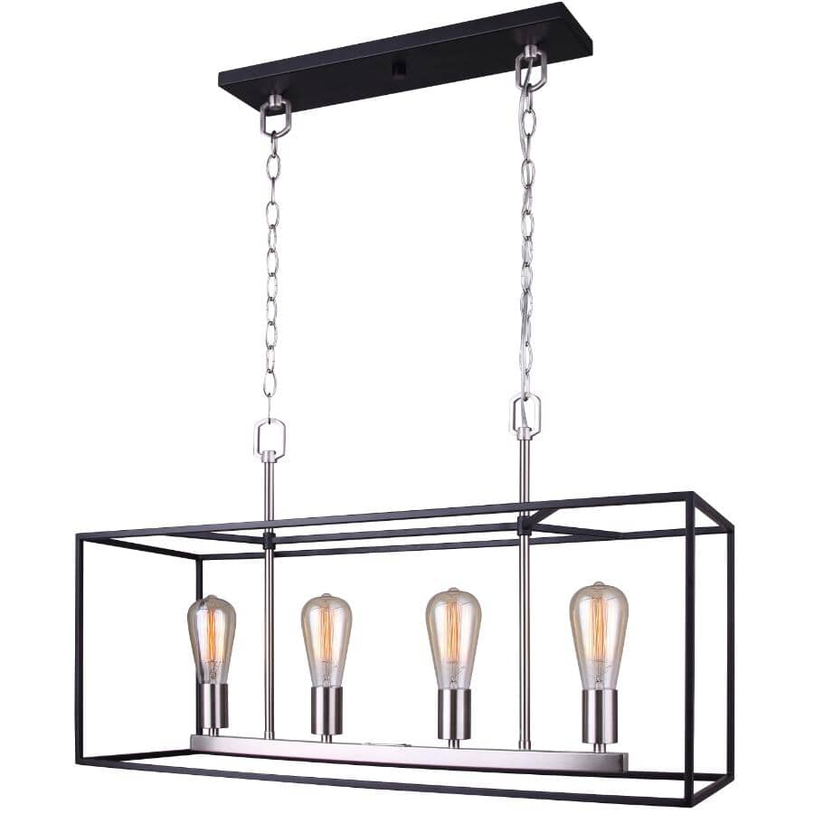CANARM:Chandelier à 4 lampes de la collection Roy, noir mat et nickel brossé