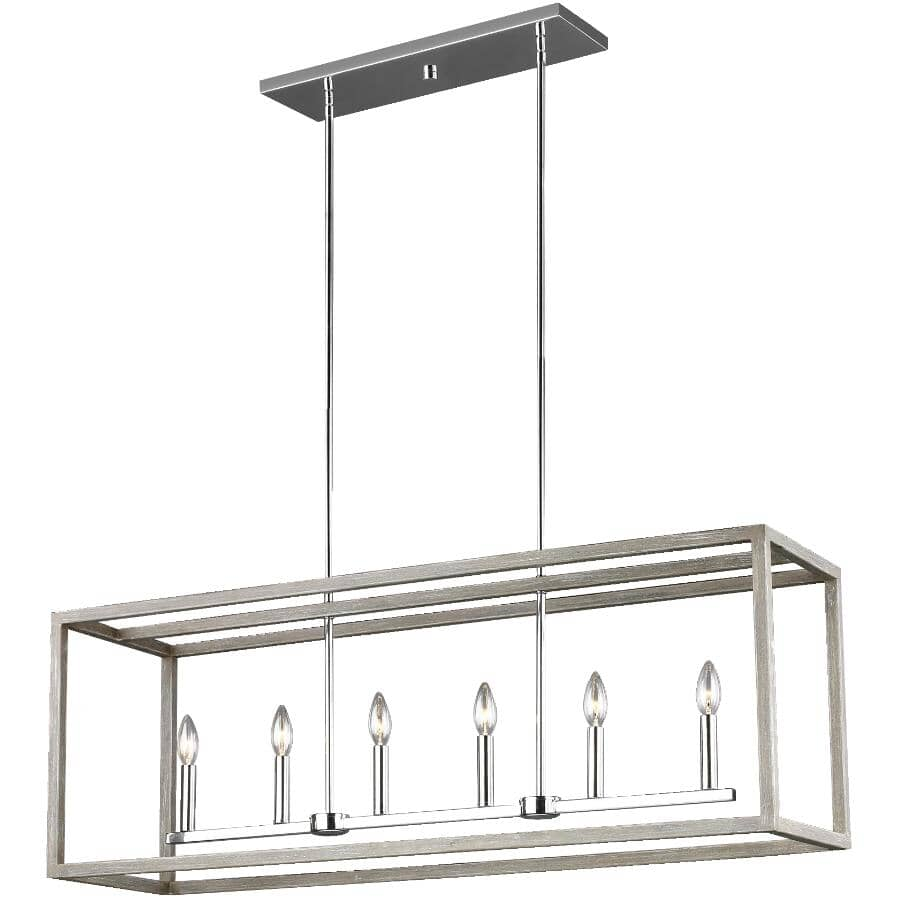 SEA GULL:Moffet Street 6 Light Washed Pine and Chrome Chandelier Light Fixture