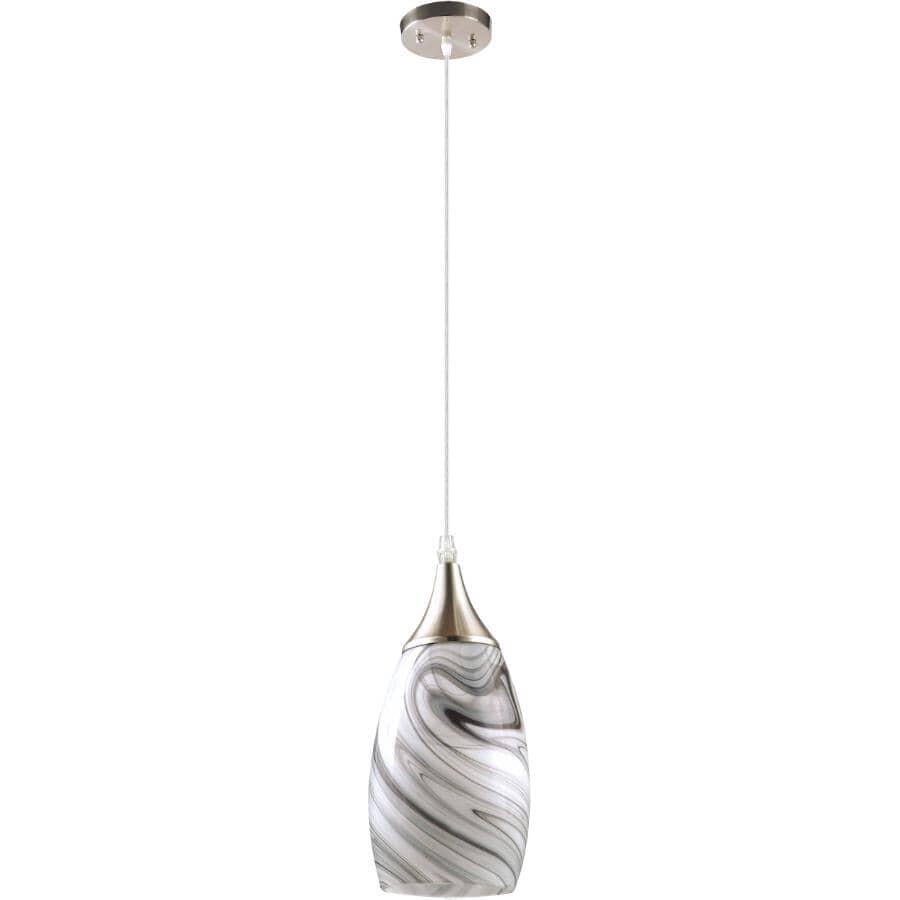 BELDI:Luminaire suspendu Peak à 1 lumière, nickel et gris torsadé
