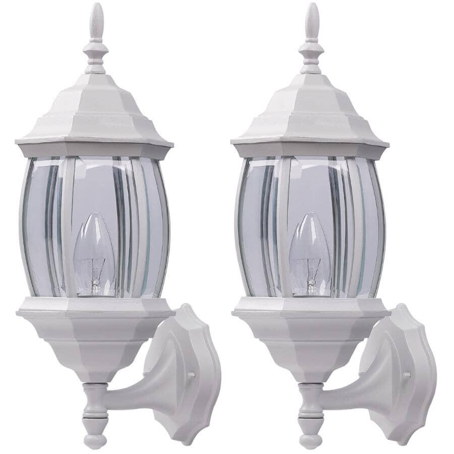 CANARM:Paquet de 2 lanternes murales d'extérieur orientées vers le haut ou le bas avec verre transparent biseauté, blanc
