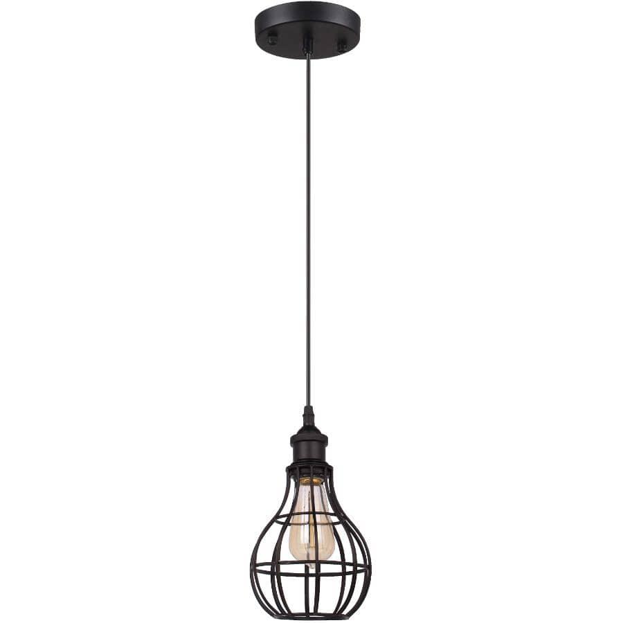 BELDI:Luminaire suspendu Lancy à 1 lampe avec abat-jour en fil métallique noir