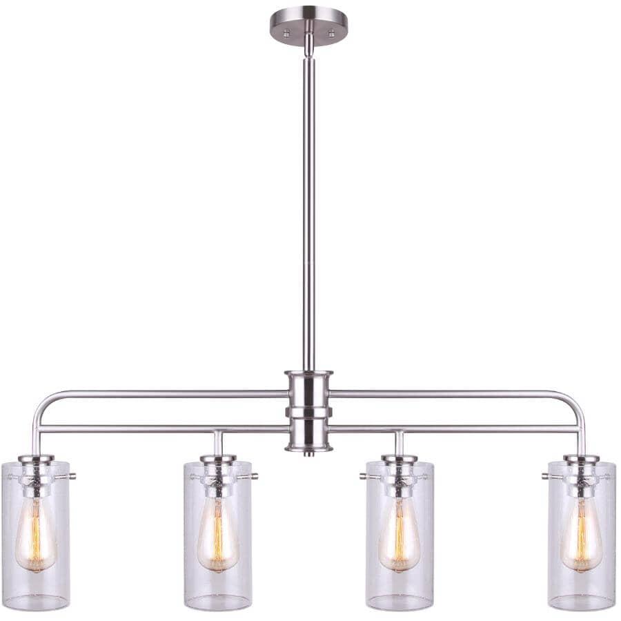 CANARM:Luminaire suspendu à 4 lampes de la collection Albany, nickel brossé
