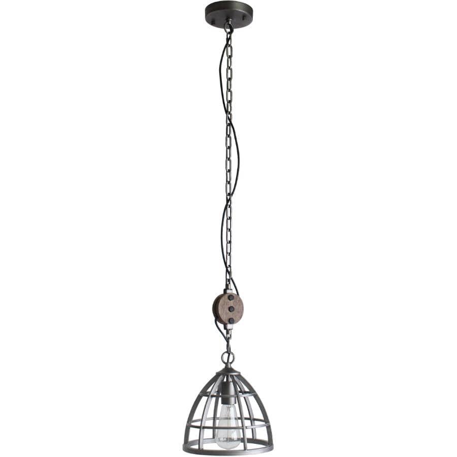 BELDI:Luminaire suspendu à 1 lampe de la collection Cali avec cage, noir et étain brossé