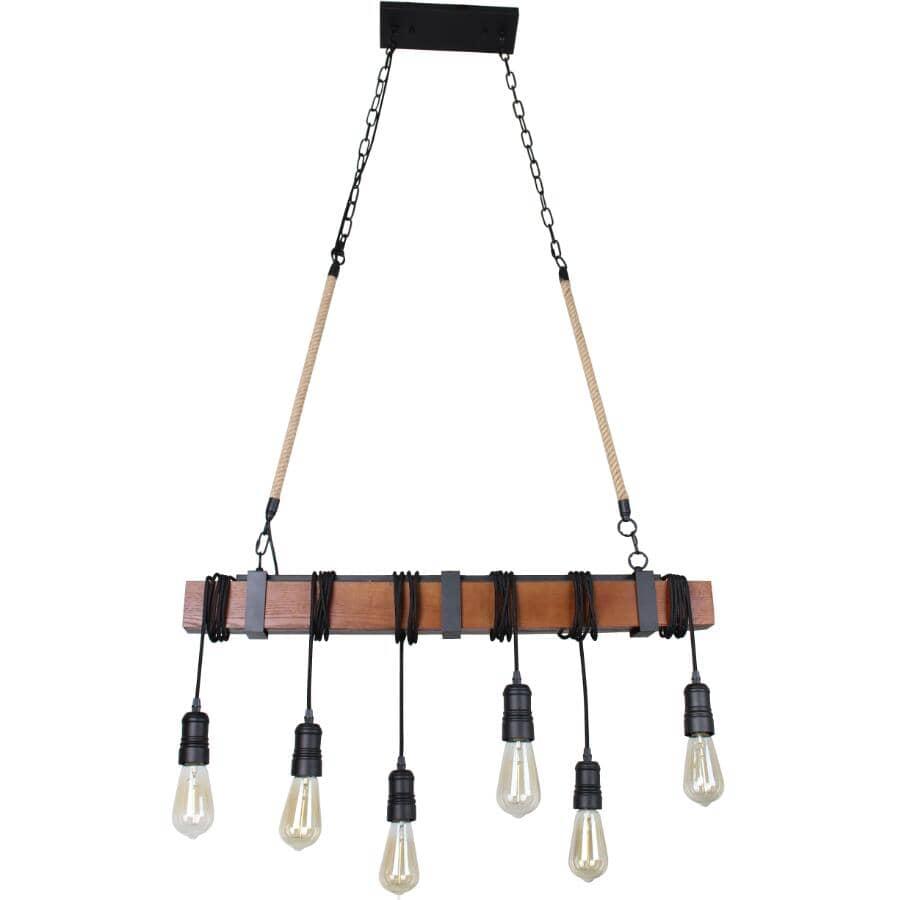 BELDI:Woodland 6 Light Brown Wood Pendant Light Fixture