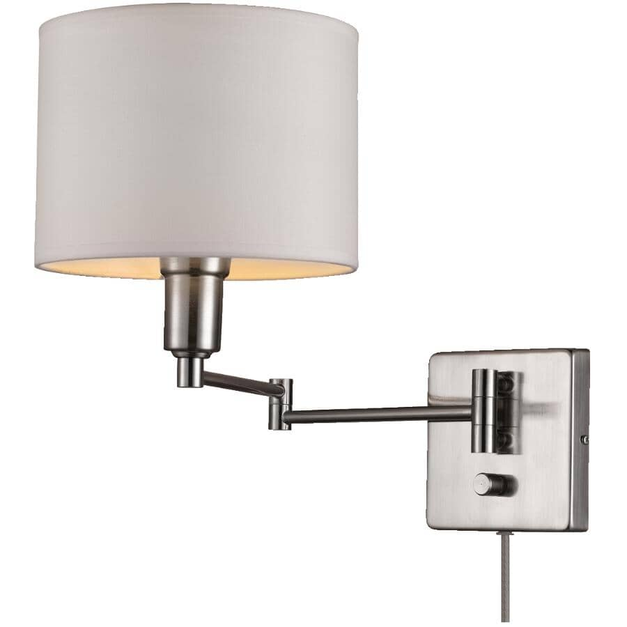 GLOBE ELECTRIC:Bernard 1 Light Brushed Steel with White Fabric Shade Plug-in or Hardwired Wall Sconce