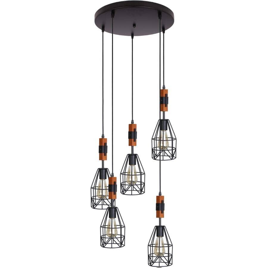 BELDI:Luminaire suspendu à 5 lampe de la collection Tralee, métal noir et bois