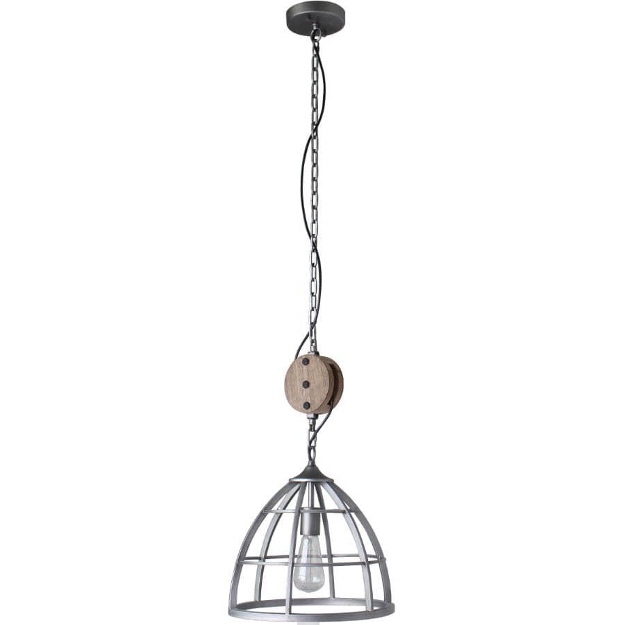 BELDI:Luminaire suspendu à 1 lampe de la collection Cali, argenté antique et bois