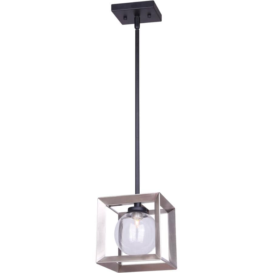 CANARM:Leo 1 Light Matte Black/Brushed Nickel Pendant Light Fixture