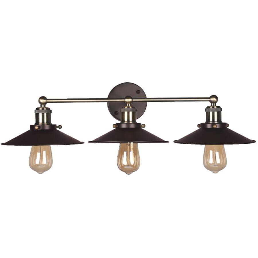 GALAXY:3 Light Bronze/Antique-Brass Metal Wall Light Fixture