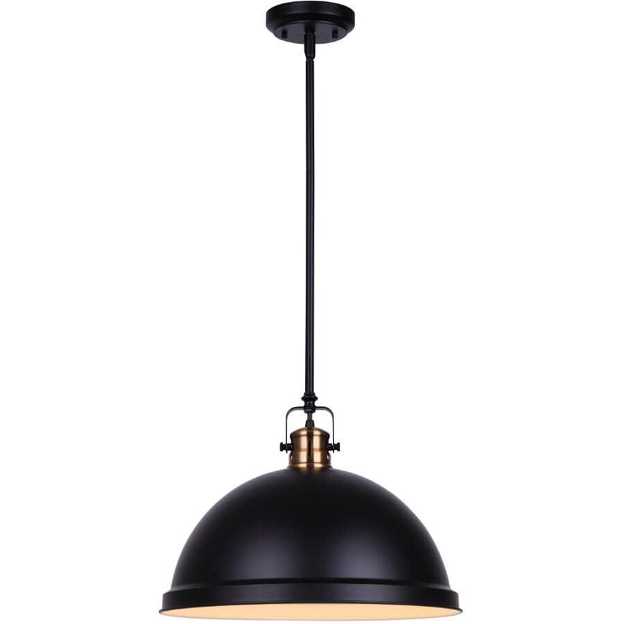 """SCOTT MCGILLIVRAY:Winslow Pendant Light Fixture - 1 Light, Matte Black & Gold, 15"""""""