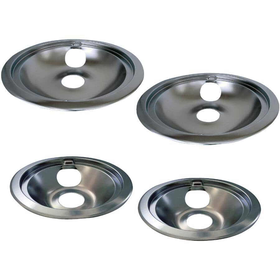 """LASER:Chrome Drip Pans & Rings for GE & Hotpoint- 6"""" + 8"""", 4 pack"""