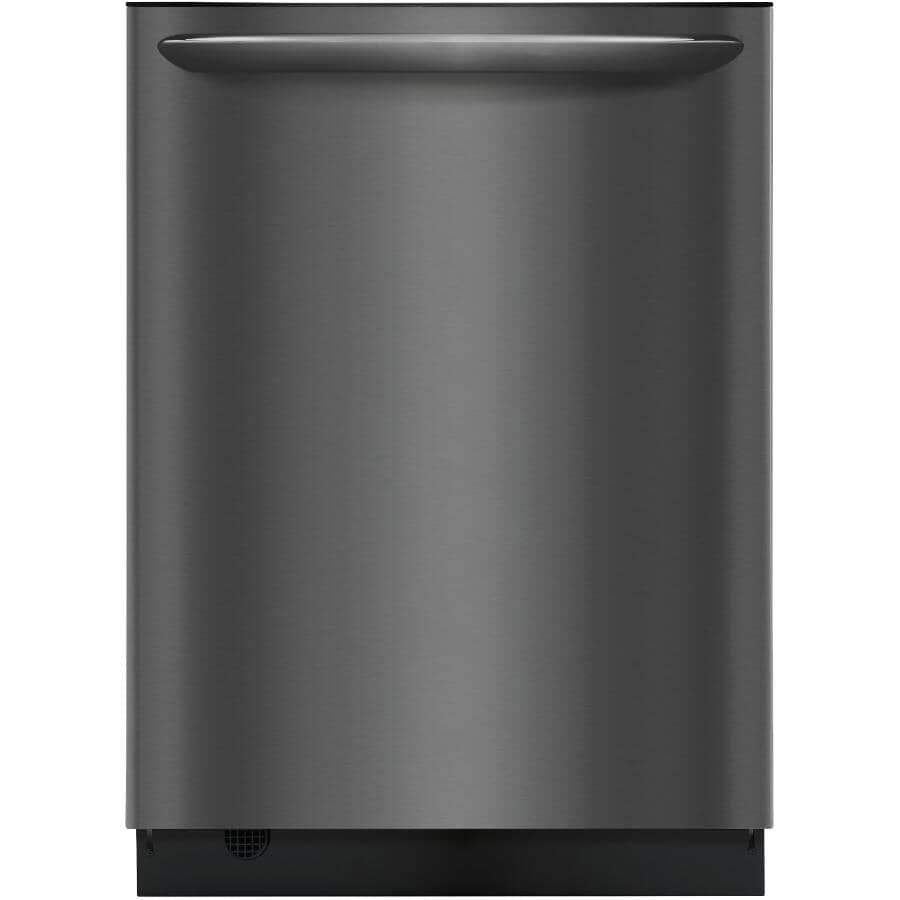 """FRIGIDAIRE GALLERY:24"""" Black Stainless Steel Built-In Dishwasher, with Stainless Steel Interior"""