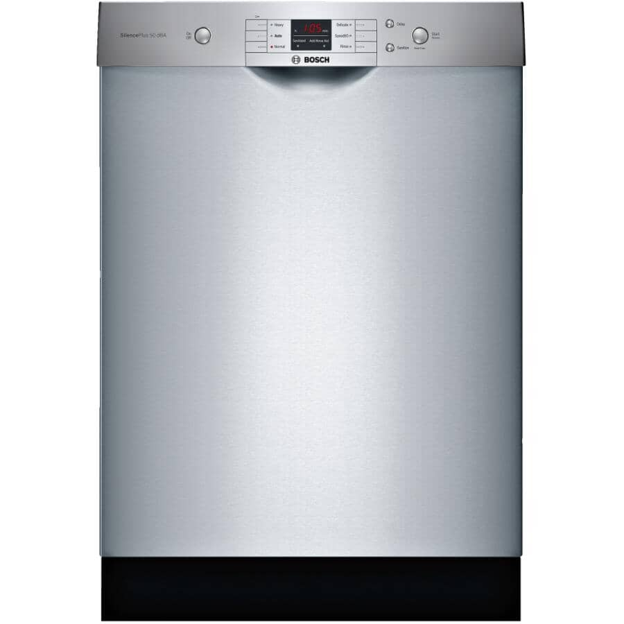 """BOSCH:100 Series Built-In Dishwasher (SHEM3AY55N) - Front Control, Stainless Steel, 24"""""""