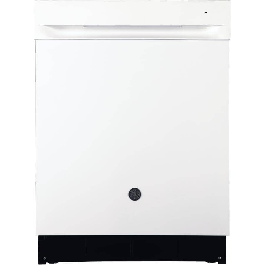 """GE:24"""" Built-In Tall Tub Dishwasher (GBP534SGPWW) - with Top Controls, White + Stainless Steel Interior"""