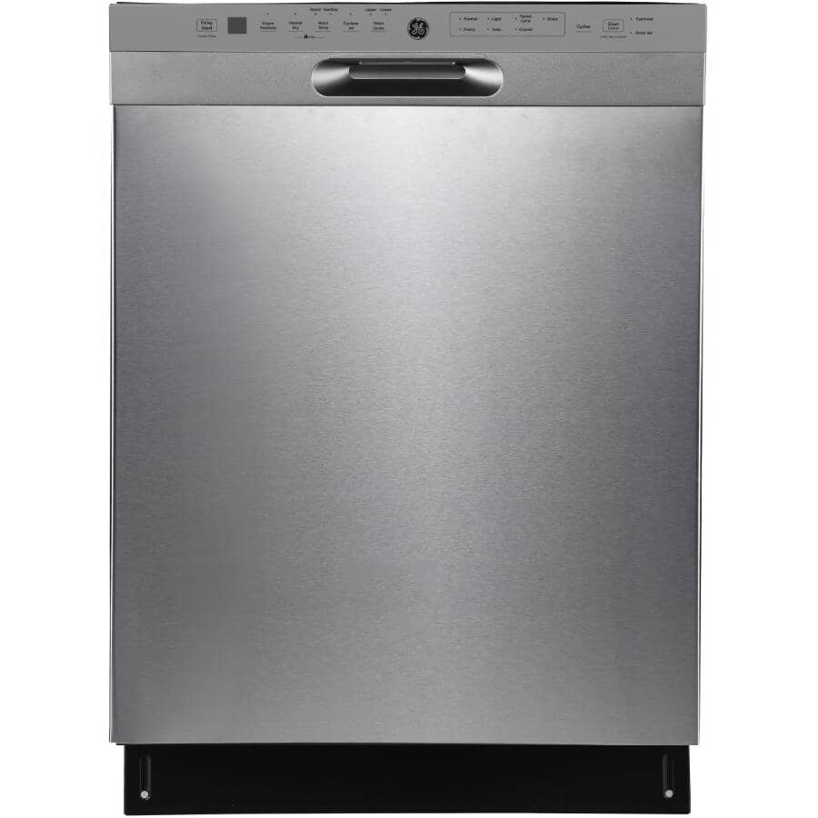 """GE:24"""" Built-In Tall Tub Dishwasher (GBF655SSPSS) - with Top Controls, Stainless Steel"""